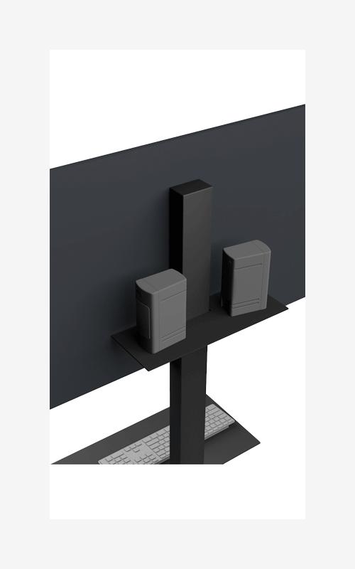 luidsprekerplank zwart wit tvstand